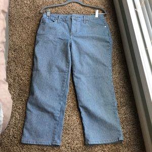 Size 4 Blue/White Pinstripe Capri Pants.